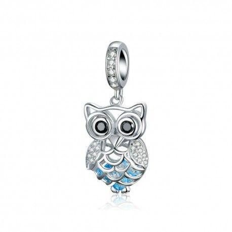 Zilveren hangende bedel Kristallen uil met blauwe veren