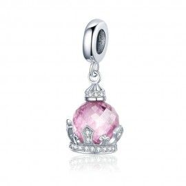 Sterling silver pendant charm Pink princess crown