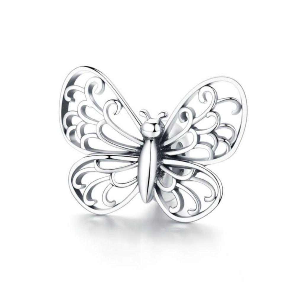 Zilveren bedel Leuke vlinder