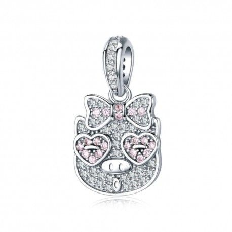 Sterling silver pendant charm Pig with pink bow tie