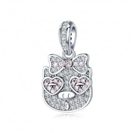 Zilveren hangende bedel Varken met roze vlinderdas