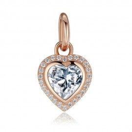 Sterling silver pendant charm Heart rose gold plated