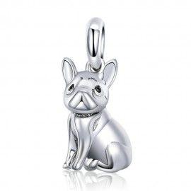 Zilveren hangende bedel Franse bulldog