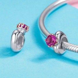 Zilveren bedel Koningin met roze zirkonia