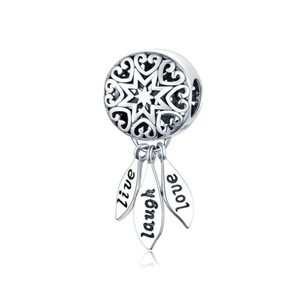 Sterling silver pendant charm Live, Laugh, Love