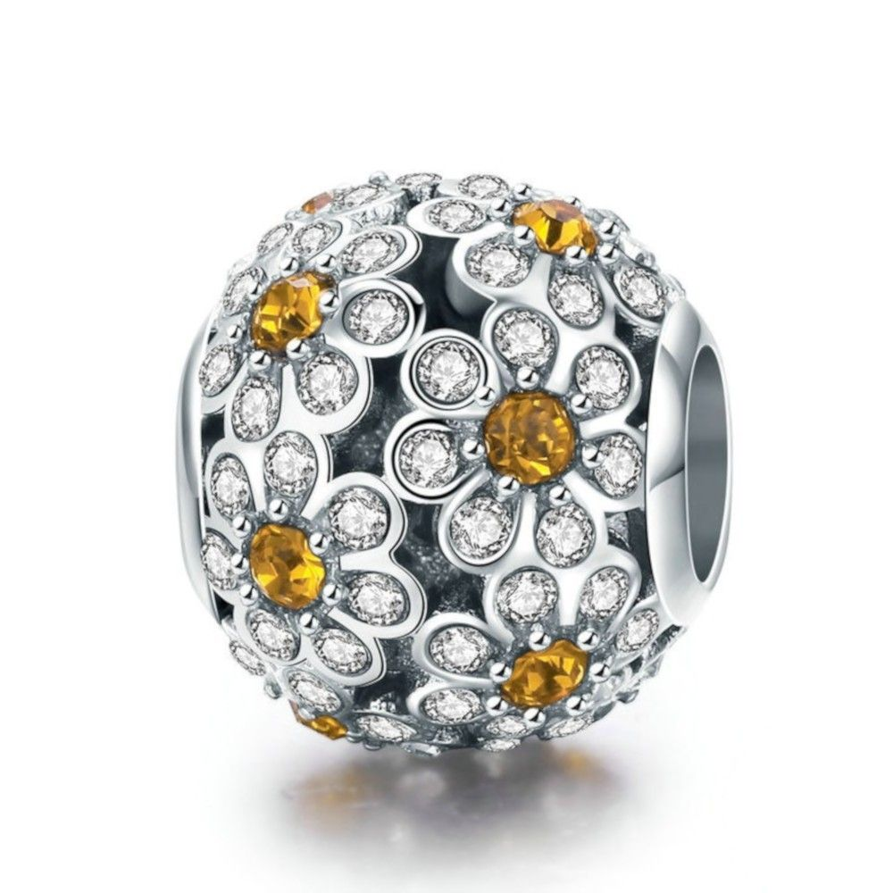 Sterling silver charm Daisy flower ball