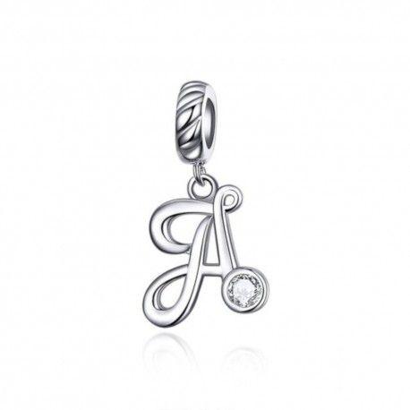 Zilveren hangende bedel letter A