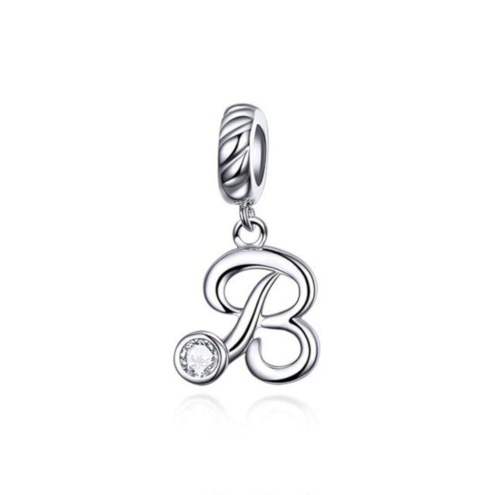 Sterling silver pendant charm letter B