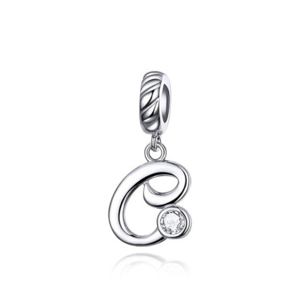 Sterling silver pendant charm letter C