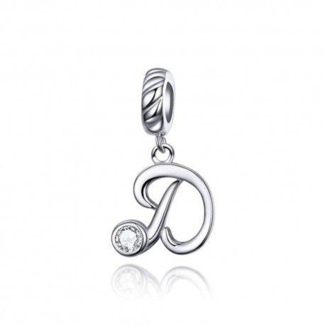 Zilveren hangende bedel letter D