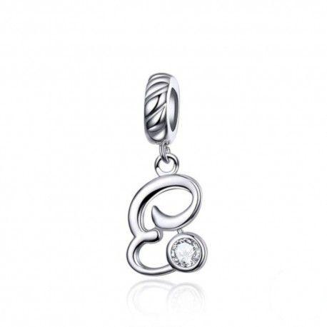 Sterling silver pendant charm letter E