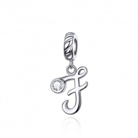 Sterling silver pendant charm letter F