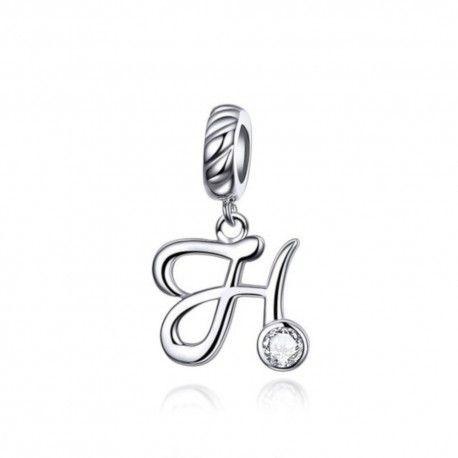 Zilveren hangende bedel letter H