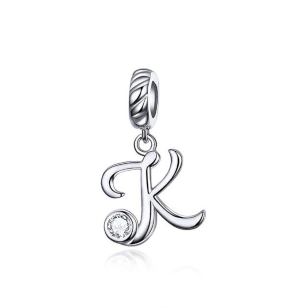 Sterling silver pendant charm letter K