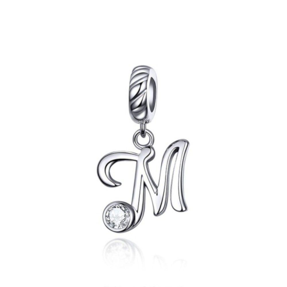 Sterling Silber Charm-Anhänger Buchstabe M