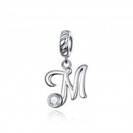 Sterling silver pendant charm letter M
