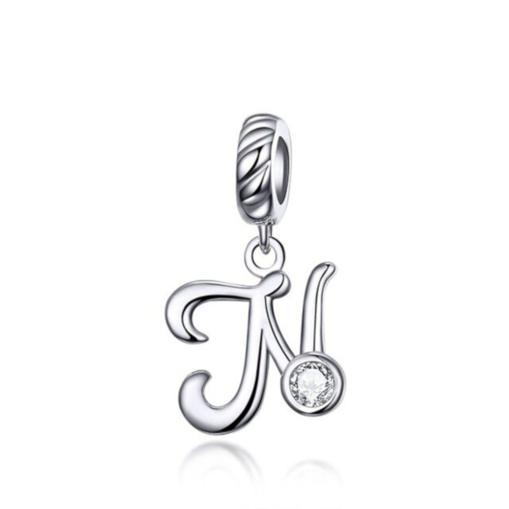 Sterling silver pendant charm letter N