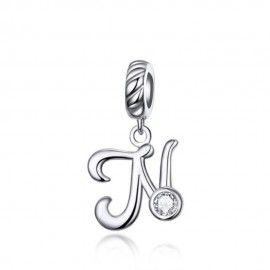 Sterling silver pendant charm letter N