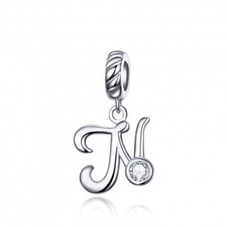 Zilveren hangende bedel letter N