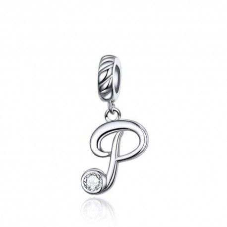 Sterling silver pendant charm letter P