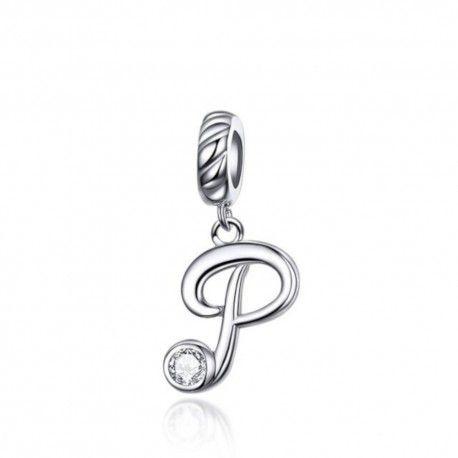 Zilveren hangende bedel letter P