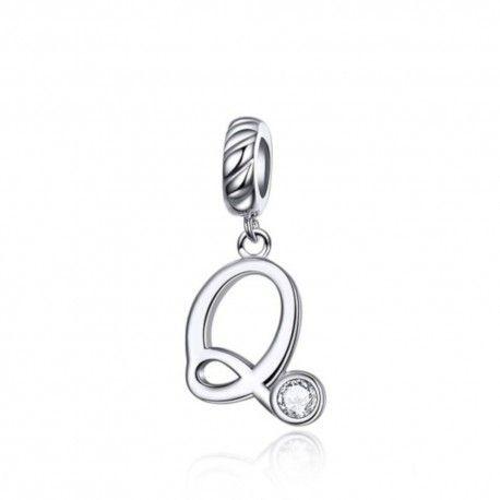 Zilveren hangende bedel letter Q