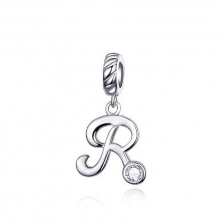 Zilveren hangende bedel letter R