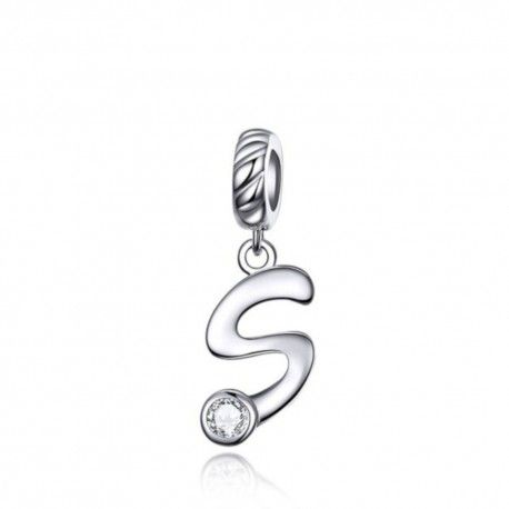 Sterling silver pendant charm letter S