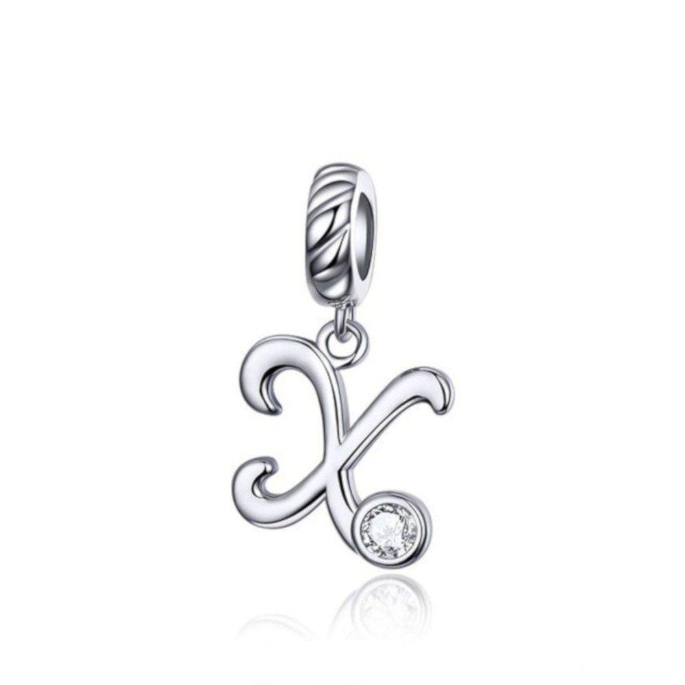 Sterling silver pendant charm letter X
