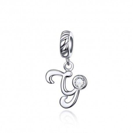 Zilveren hangende bedel letter Y