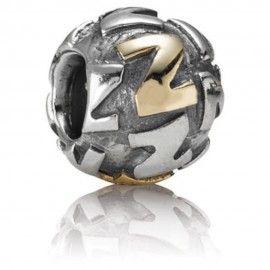 Zilveren bedel & verguld letter Z