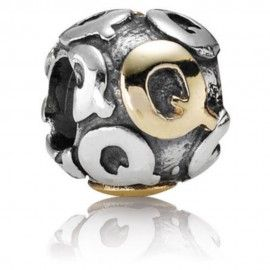 Silver charm & gold plated letter Q