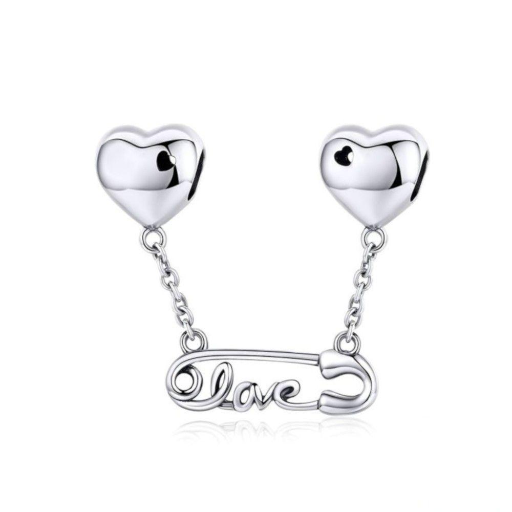 Zilveren hangende bedel Veiligheidsspeld met liefde