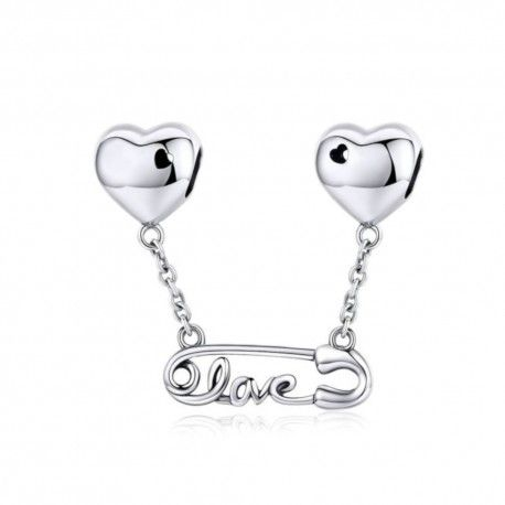 Sterling silver pendant charm Safety pin with love