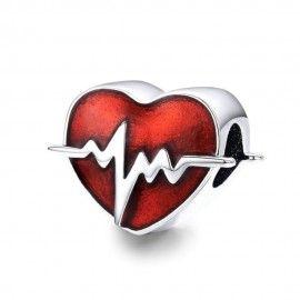 Sterling silver charm Heartbeat