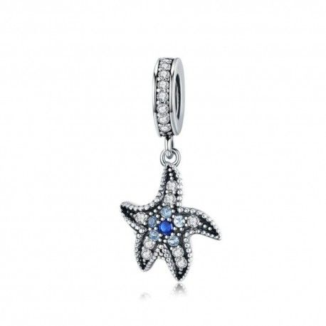 Sterling silver pendant charm Blue starfish