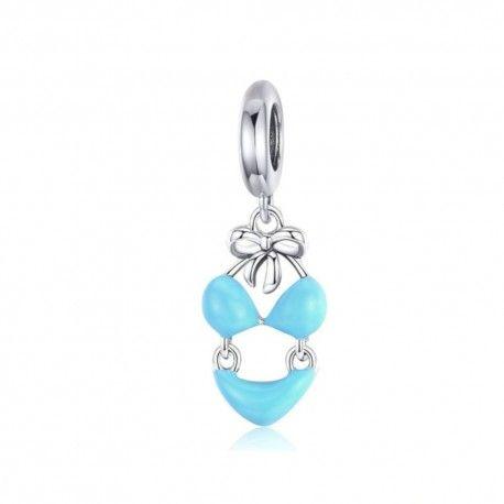 Sterling silver pendant charm Blue bikini
