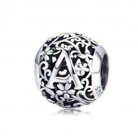 Zilveren alfabet bedel letter A met bloemen