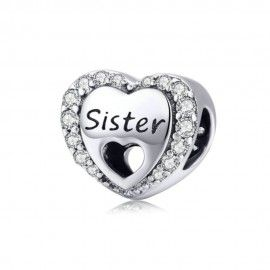 Sterling silver charm Sister love