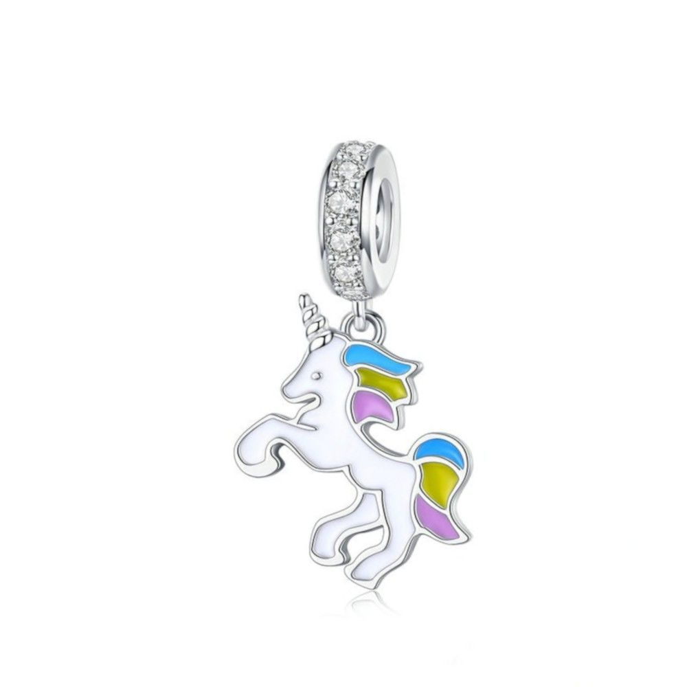 Charm pendente in argento Unicorno con smalto-Mijn bedels ...