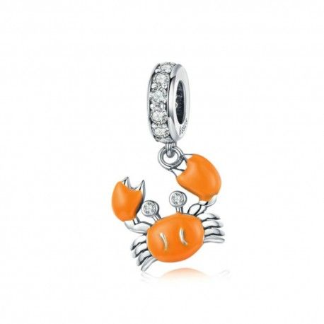 Sterling silver pendant charm Summer crab