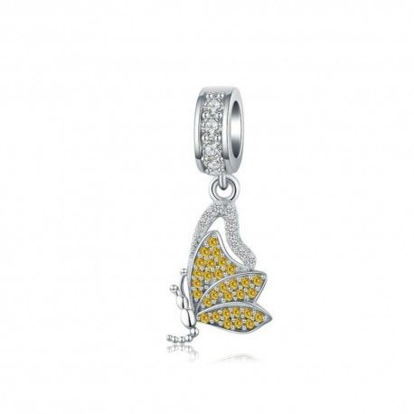 Sterling silver pendant charm Yellow butterfly