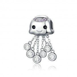 Zilveren hangende bedel Octopus