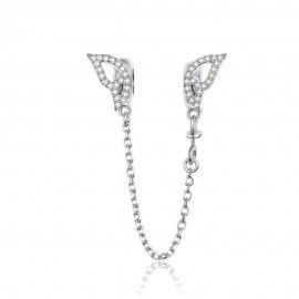 Sterling silver safety chain Wings