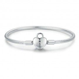 Sterling-Silber Charm-Armband Herzschloss