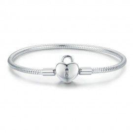 Sterling silver charm bracelet Heart lock
