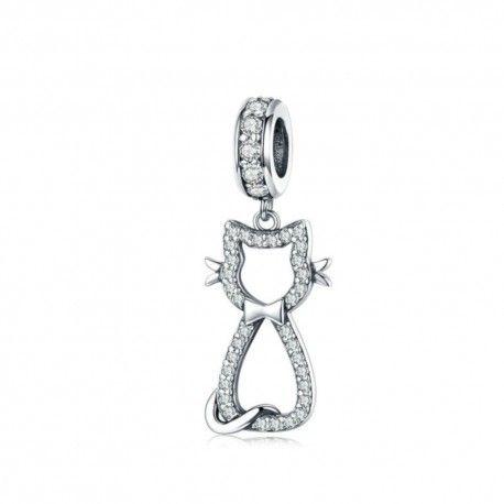 Sterling silver pendant charm Happy kitten