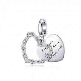 Sterling silver pendant charm Love you, always have, always will