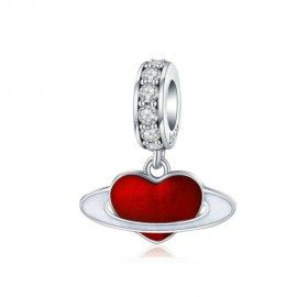 Sterling silver pendant charm Love planet