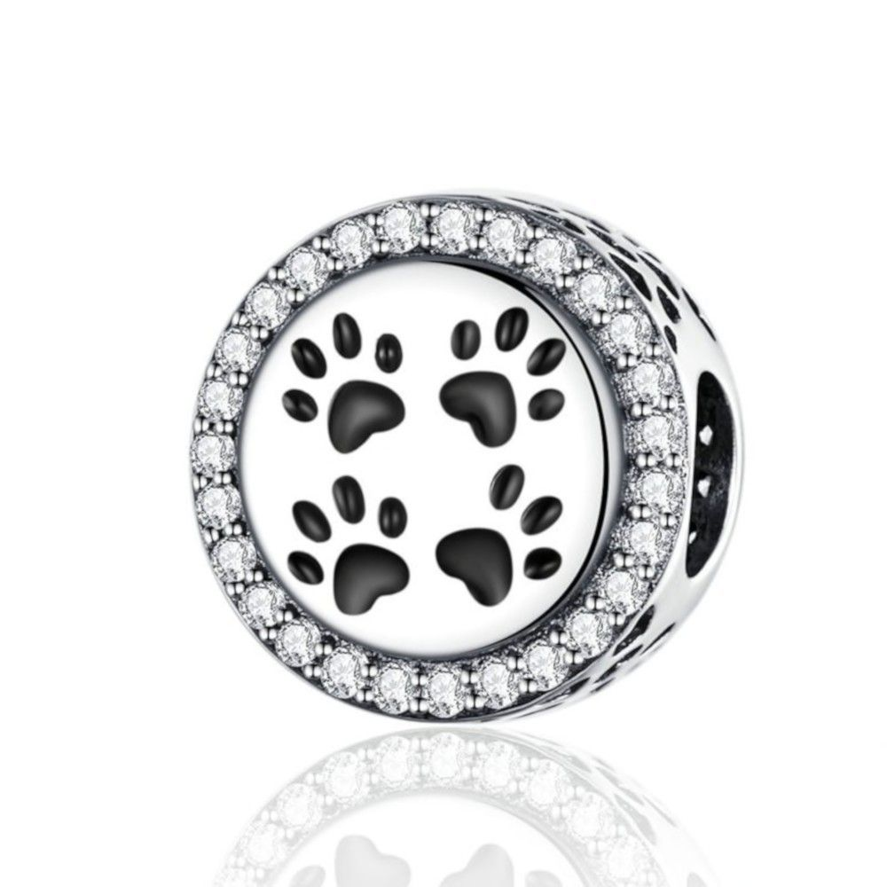 Sterling silver charm Cat footprints